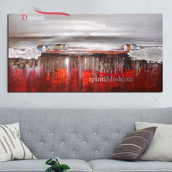 Quadro paesaggio astratto rosso grigio