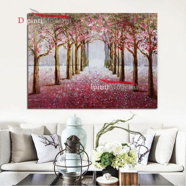 quadri moderni paesaggio bosco alberi rosa