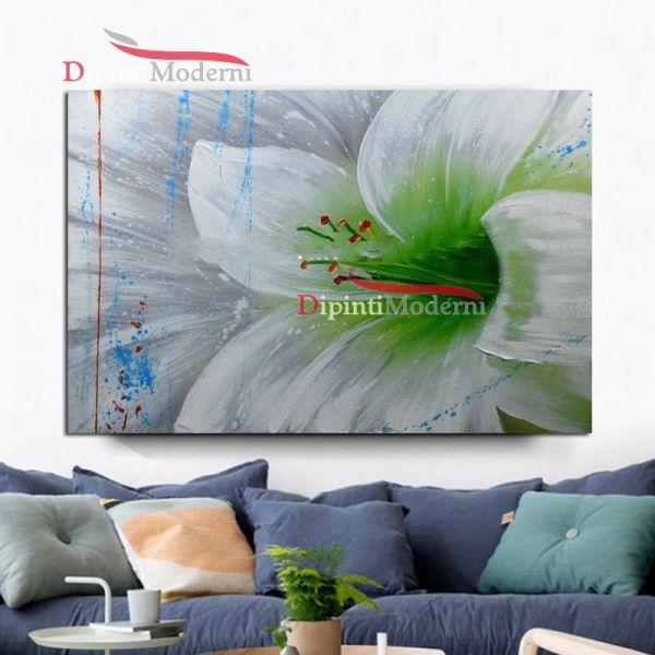 quadro con fiore bianco verde