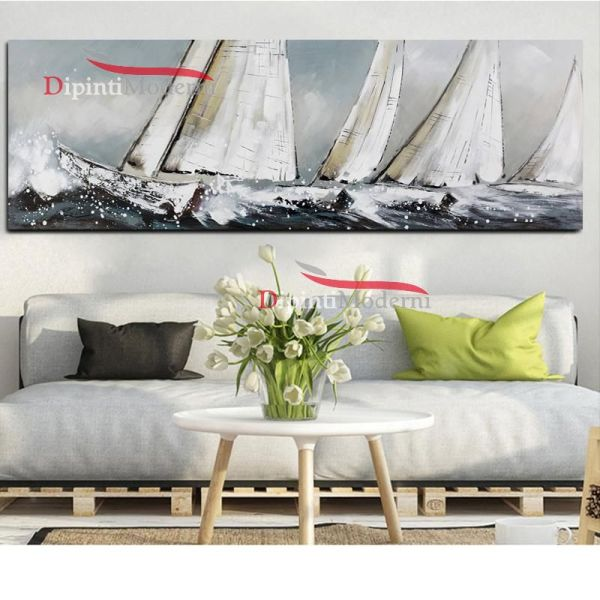 Dipinti moderni barche a vela tempesta di mare