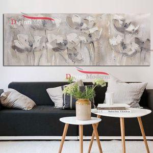 Dipinti moderni bianchi con fiori arredamento soggiorno