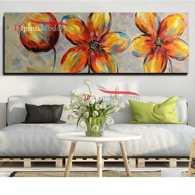Dipinti moderni fiori astratti colorati su tela