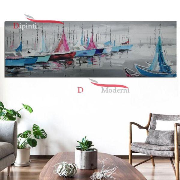 Quadro moderno su tela porto di mare