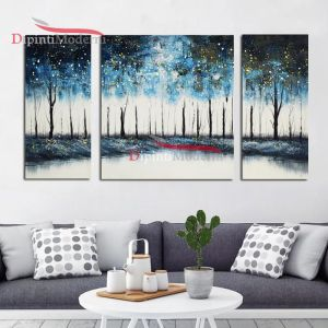 Dipinti su tela alberi azzurri su lago