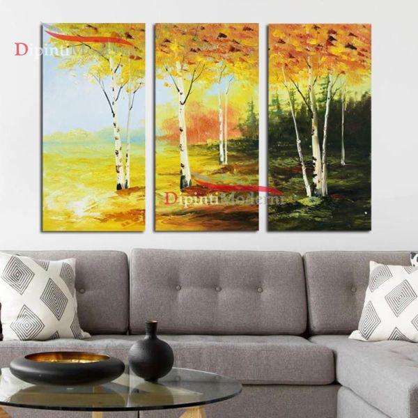 Dipinti su tela moderni paesaggio alberi gialli