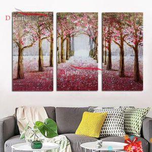 Dipinti viale alberi rosa foglie autunno moderni