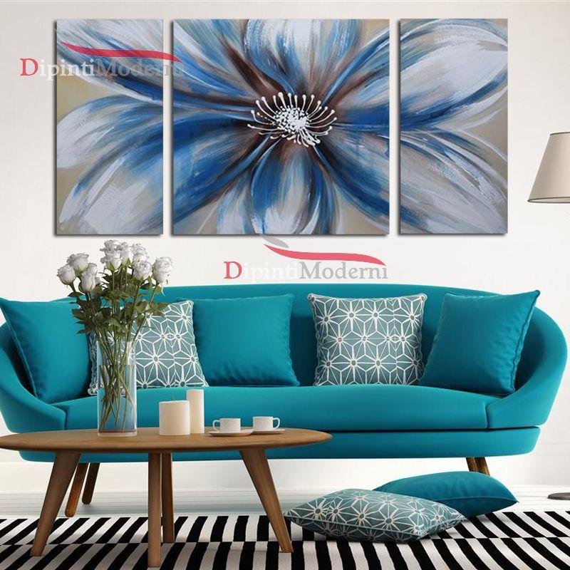 Quadri moderni fiore grande azzurro dipinti moderni for Compro quadri moderni
