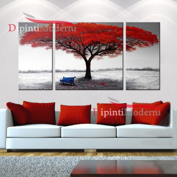 Quadri moderni paesaggio albero rosso panchina dipinti for Cerco quadri moderni