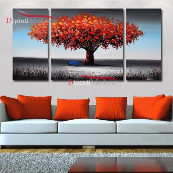 Quadri moderni trittici albero della vita rosso