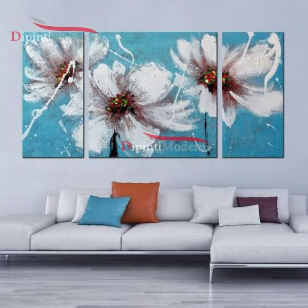 Quadro su tela fiori bianchi sfondo celeste
