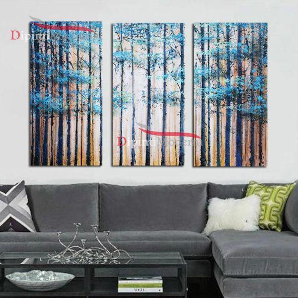Quadro su tre tele dipinto a mano con foresta azzurra