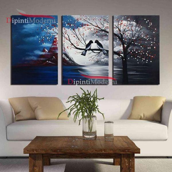 Dipinto uccellini innamorati ramo albero mare olio su tela