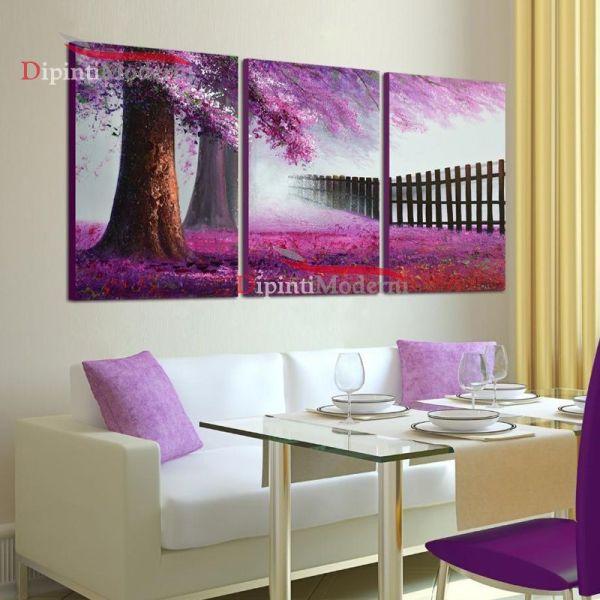 Paesaggio dipinti moderni quadri alberi lilla viola
