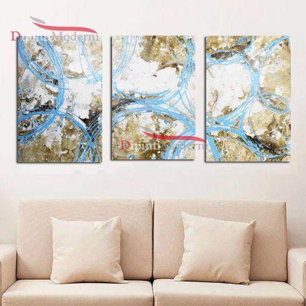 Quadro decorativo astratto dipinto olio su tela cerchi azzurri beige