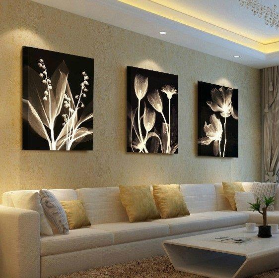 Quadri moderni con fiori zona living 80x240 cm - Dipinti Moderni