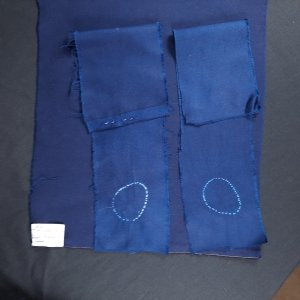 Test samples of wide backing fabrics and PImatex