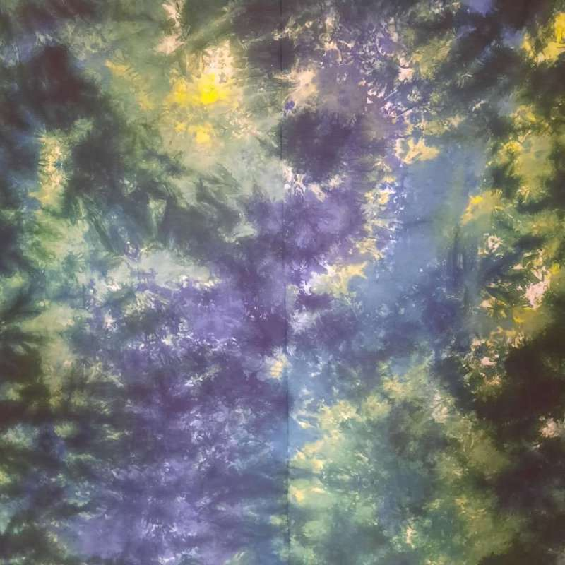 Blue-green-yellow hand-dyed fabric