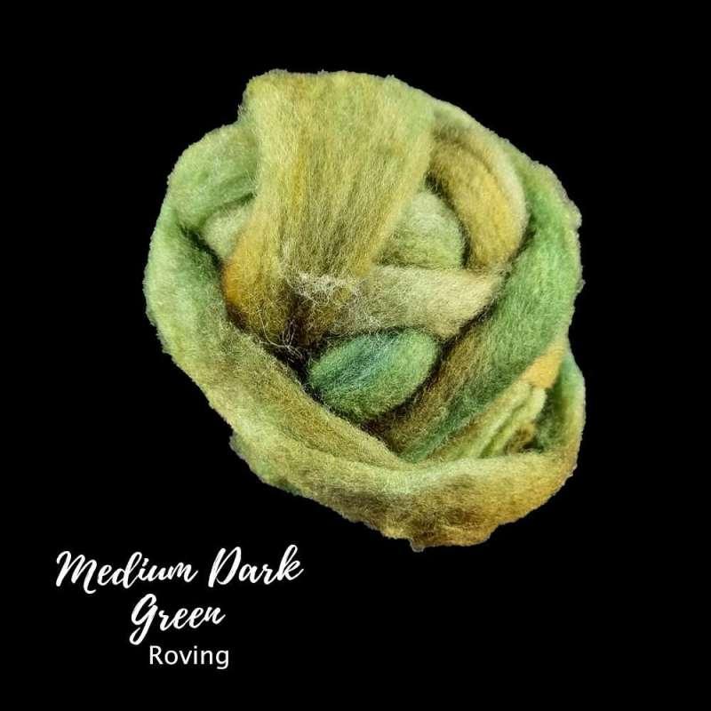 Medium Dark green roving