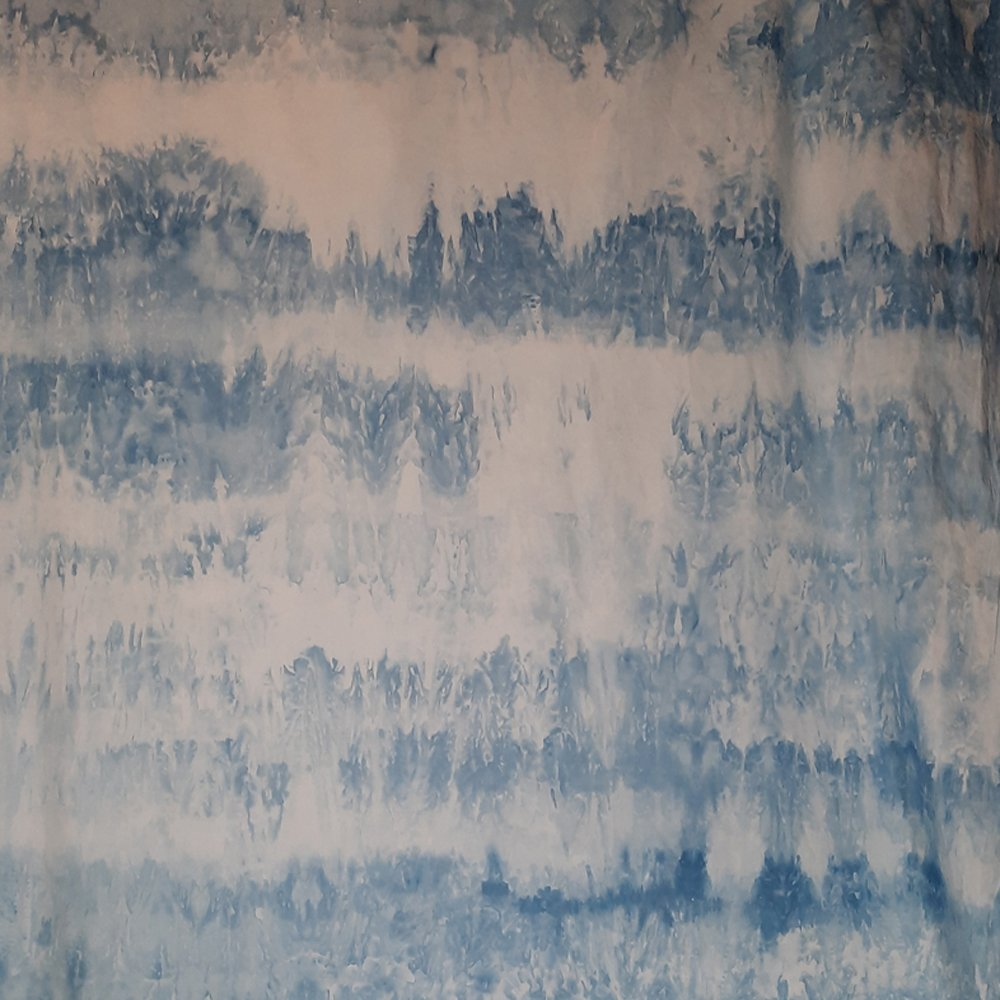 Banded blue snow dye on Pimatex width of fabric