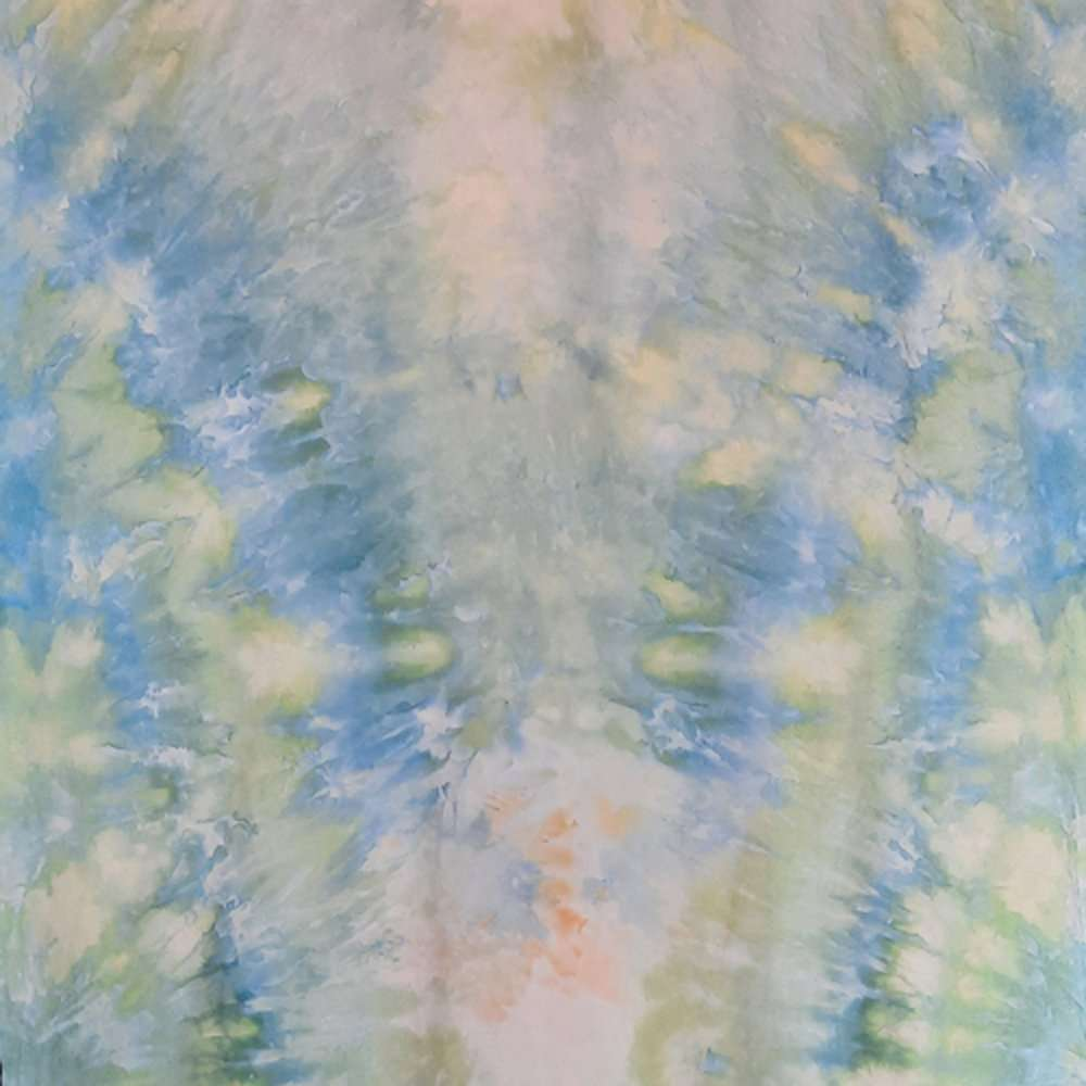Pale blue, yellow and green snow-dye full width