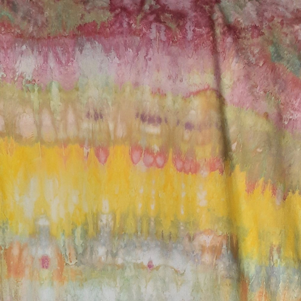 Snow dyed Pimatex in yellow, pink, and green, cross-banded, full width picture