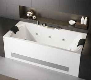 baignoire double tetes balneo kinedo pure design 190x90 vitalite