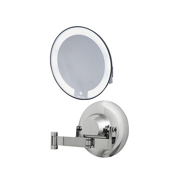 Miroir Grossissant Lumineux Cosmos Entourage Chrome Bras Plat