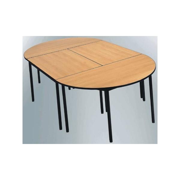table de reunion nf 4 pieds flore melamine chant polypropylene demi ronde 160 cm