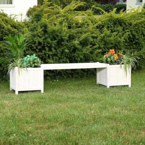 banc de jardin avec bacs a fleurs en bois massif 4 coloris