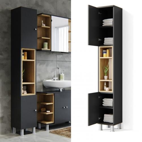 meuble colonne salle de bain anthracite modele major