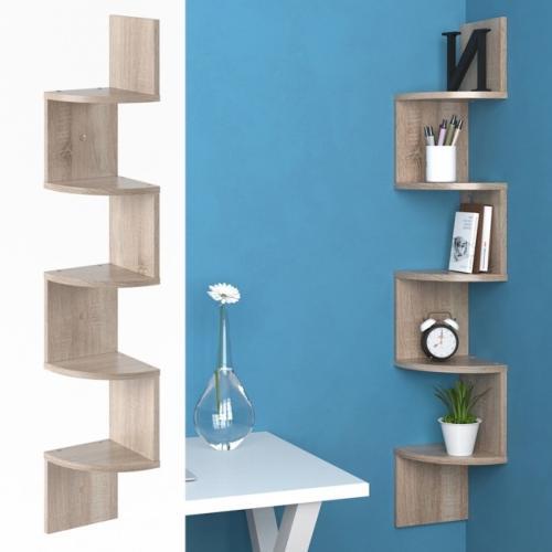 etagere d angle 125 cm couleur chene blanc ou gris beton