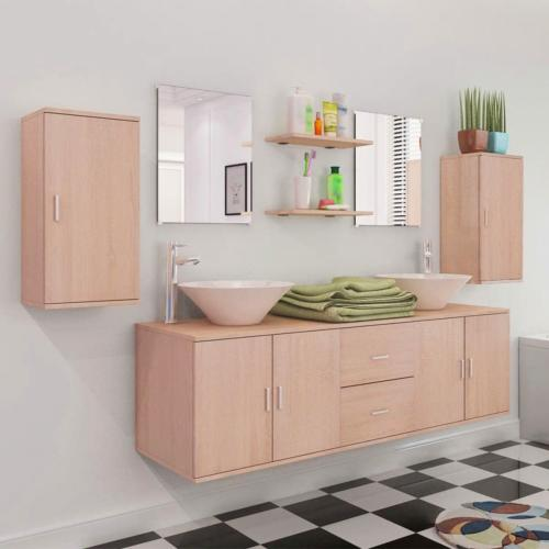 ensemble salle de bain complet double vasque meuble beige