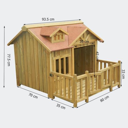 niche a chien design avec terrasse en bois massif