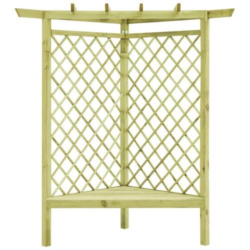 pergola d angle 130 x 130 cm bois massif avec banc