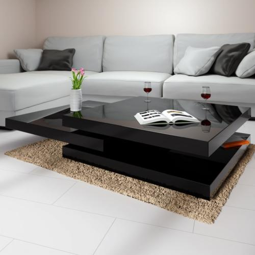 table basse pivotante 3 plateaux modele fire noir ou blanc