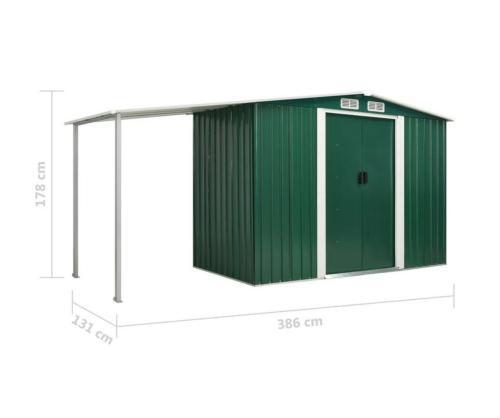 abri de jardin en metal galvanise vert 4 dimensions