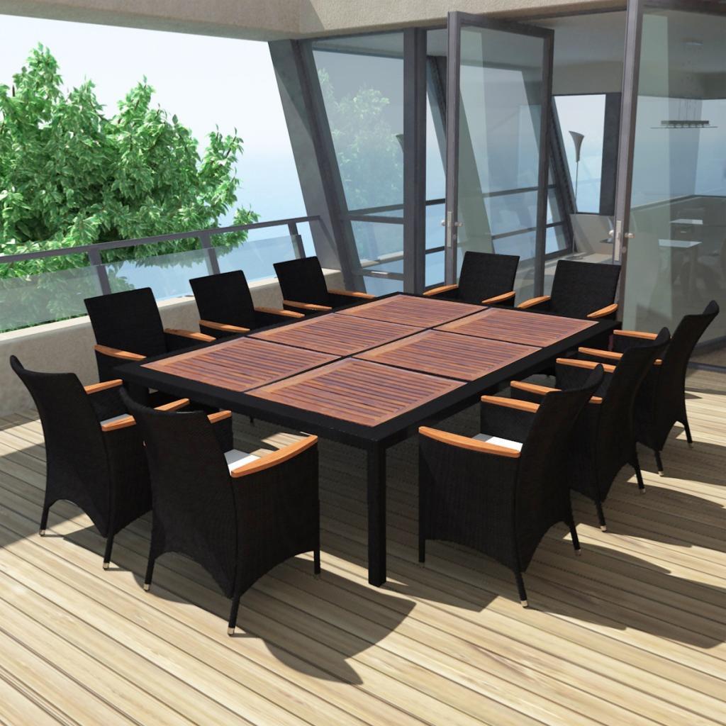 salon de jardin acacia et resine tressee noir 4 a 12 places modele caraibe
