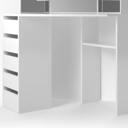 meuble coiffeuse d angle blanc eclairage led et siege