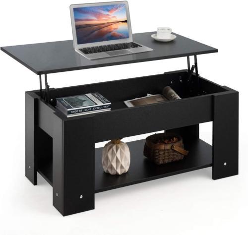 table basse 100 cm escamotable noir modele galion