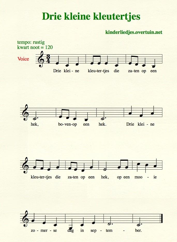 drie_kleine_kleutertjes bladmuziek