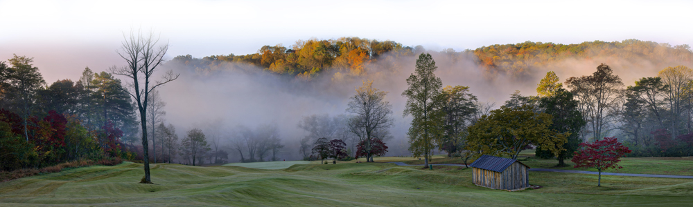 A morning mist sets over Old Toccoa Farm in Blue Ridge, Georgia