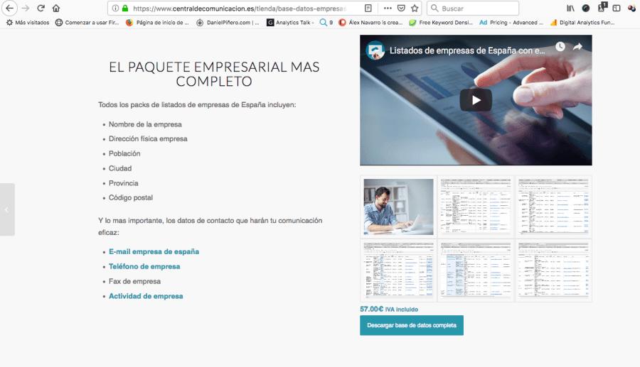 Bases de datos de centraldecomunicacion.es