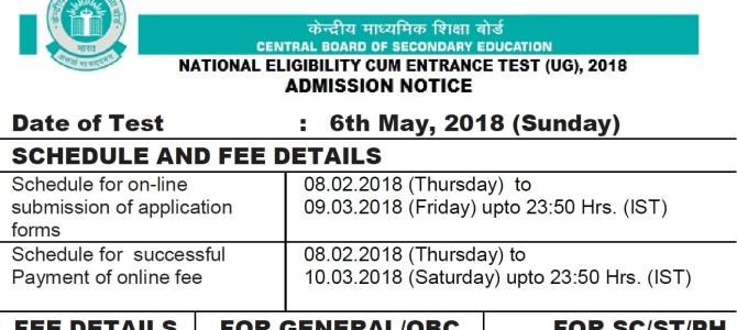 NEET UG 2018 Admission Notice