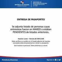 Listados de la Embajada de Panamá en Cuba sobre reprogramación de citas y entrega de …