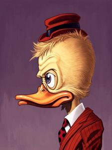 "Artwork by Howard the Duck creator Val Mayerik and artist Mike Mitchell. Edition of 145. 12"" x 16""."