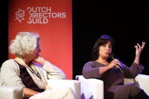 20160927 - Utrecht - Foto: Ramon Mangold/ NFF - Nationale Film Conferentie, Diversiteits Seminar door de Dutch Directors Guild (DDG). Doreen Boonekamp (Directeur Filmfonds) en Karima Belhaj (ING).