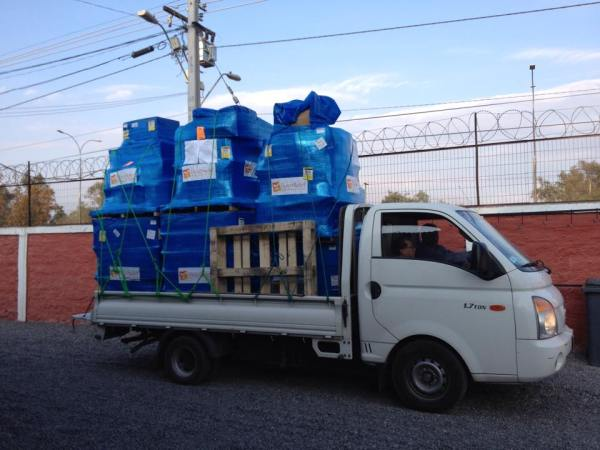 Supplies sent to FEDES earlier in the month bound for people displaced by the floods. Photo courtesy of FEDES.