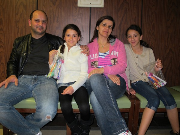 Nina and Naya with their parents at the dental clinic.
