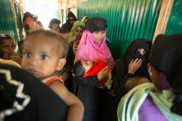 Women and children are seen at the HOPE Field Hospital For Women in Madhuchara camp on January 18, 2018, in Cox's Bazar, Bangladesh. (Photo by Rajib Dhar for Direct Relief)