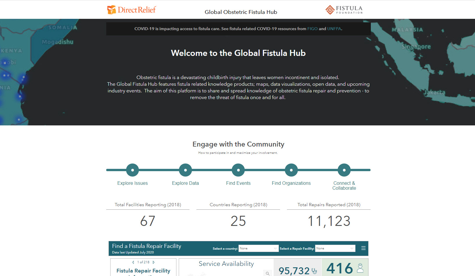 Direct Relief's Global Fistula Hub can be explored above, and is multi-year effort to locate and analyze the global distribution of obstetric fistula surgery.
